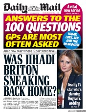 Daily Mail (UK) Newspaper Front Page for 10 February 2018
