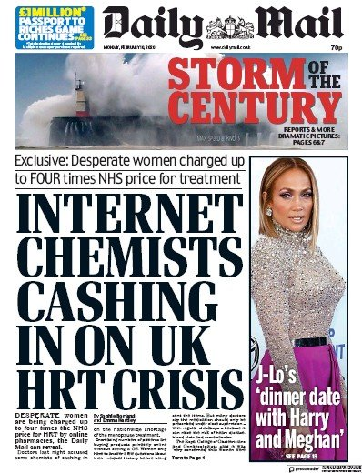 Daily Mail Newspaper Front Page (UK) for 10 February 2020