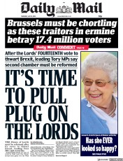 Daily Mail (UK) Newspaper Front Page for 10 May 2018