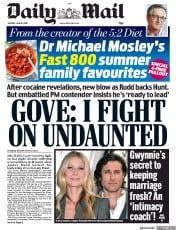 Daily Mail (UK) Newspaper Front Page for 10 June 2019