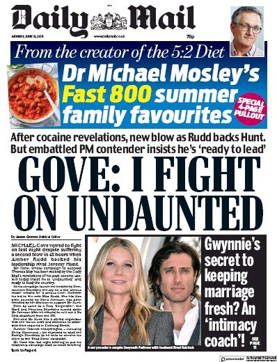 Daily Mail Newspaper Front Page (UK) for 10 June 2019