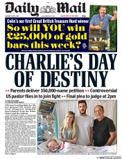 Daily Mail (UK) Newspaper Front Page for 10 July 2017