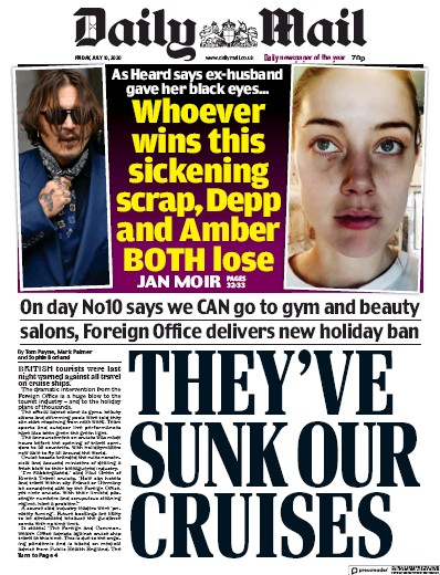 Daily Mail Newspaper Front Page (UK) for 10 July 2020