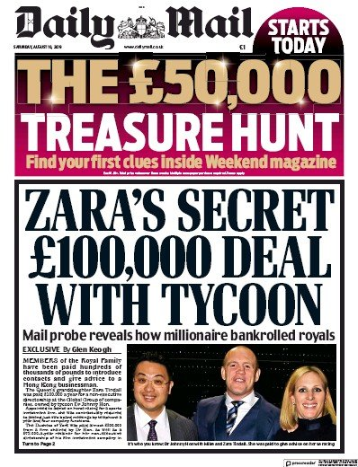 Daily Mail Newspaper Front Page (UK) for 10 August 2019