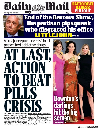 Daily Mail Newspaper Front Page (UK) for 10 September 2019