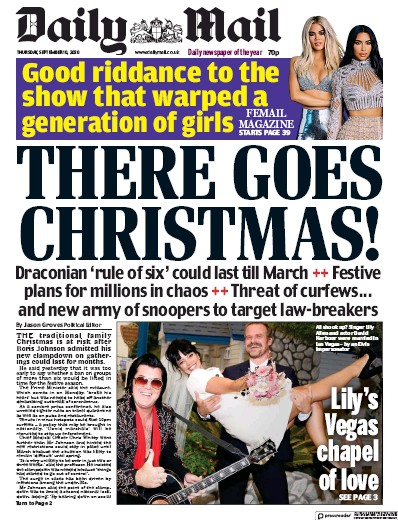 Daily Mail Newspaper Front Page (UK) for 10 September 2020