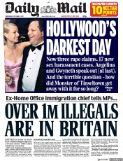 Daily Mail (UK) Newspaper Front Page for 11 October 2017