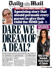 Daily Mail (UK) Newspaper Front Page for 11 October 2019