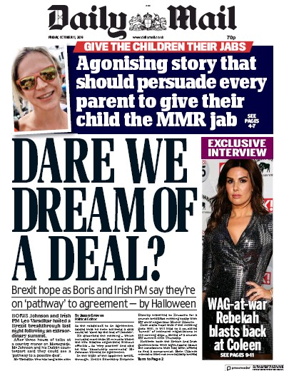 Daily Mail Newspaper Front Page (UK) for 11 October 2019