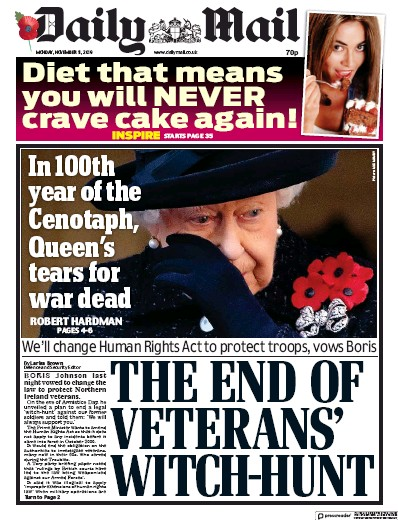 Daily Mail Newspaper Front Page (UK) for 11 November 2019