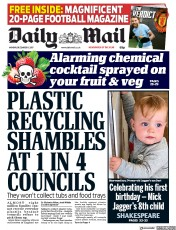 Daily Mail (UK) Newspaper Front Page for 11 December 2017