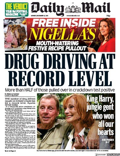 Daily Mail Newspaper Front Page (UK) for 11 December 2018