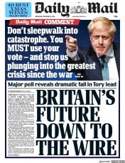 Daily Mail () Newspaper Front Page for 11 December 2019