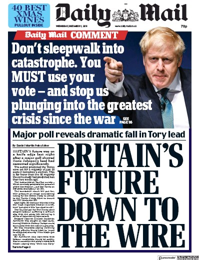 Daily Mail Newspaper Front Page (UK) for 11 December 2019