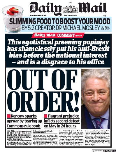 Daily Mail Newspaper Front Page (UK) for 11 January 2019