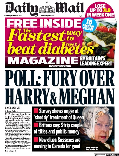 Daily Mail Newspaper Front Page (UK) for 11 January 2020