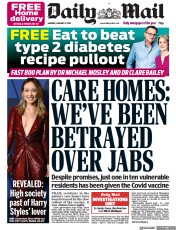 Daily Mail (UK) Newspaper Front Page for 11 January 2021