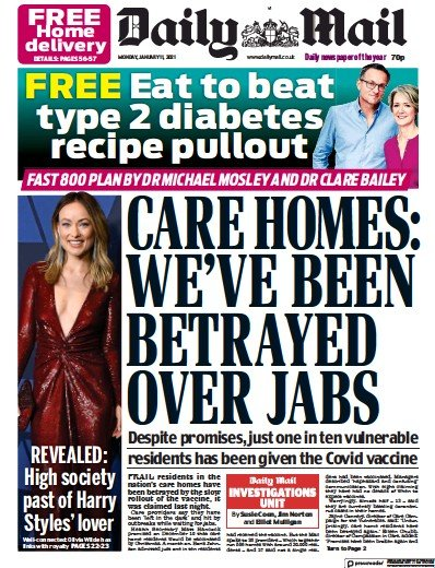 Daily Mail Newspaper Front Page (UK) for 11 January 2021