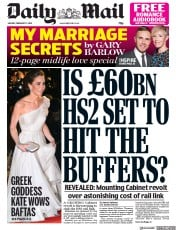 Daily Mail (UK) Newspaper Front Page for 11 February 2019