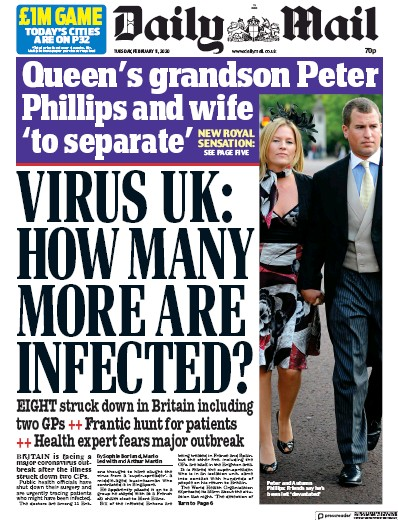 Daily Mail Newspaper Front Page (UK) for 11 February 2020