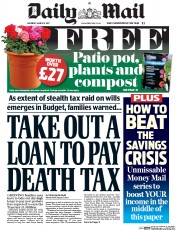 Daily Mail (UK) Newspaper Front Page for 11 March 2017