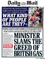 Daily Mail (UK) Newspaper Front Page for 11 April 2018