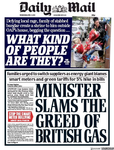 Daily Mail Newspaper Front Page (UK) for 11 April 2018