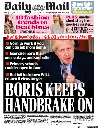 Daily Mail Newspaper Front Page (UK) for 11 May 2020