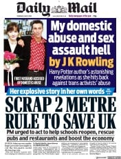Daily Mail (UK) Newspaper Front Page for 11 June 2020