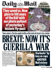 Daily Mail (UK) Newspaper Front Page for 11 July 2018