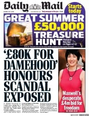 Daily Mail front page for 11 July 2020