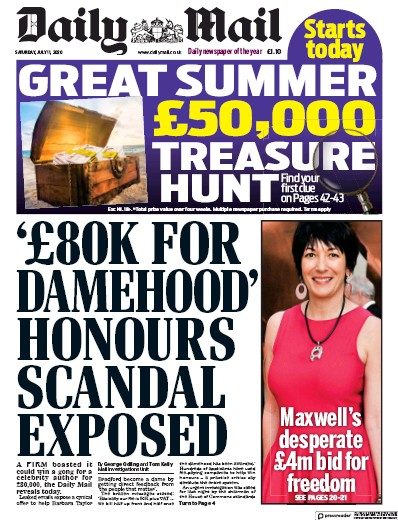 Daily Mail Newspaper Front Page (UK) for 11 July 2020