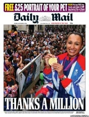 Daily Mail Newspaper Front Page (UK) for 11 September 2012