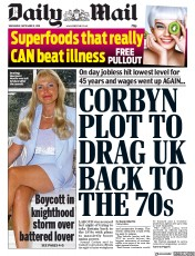 Daily Mail (UK) Newspaper Front Page for 11 September 2019