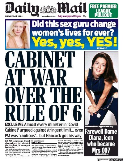 Daily Mail Newspaper Front Page (UK) for 11 September 2020