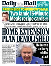 Daily Mail Newspaper Front Page (UK) for 12 October 2012