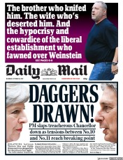 Daily Mail (UK) Newspaper Front Page for 12 October 2017