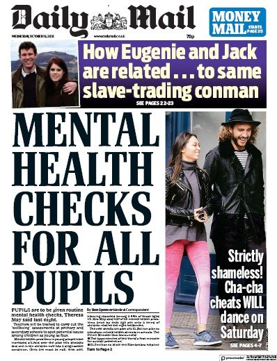 Daily Mail Newspaper Front Page (UK) for 12 October 2018