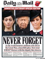 Daily Mail (UK) Newspaper Front Page for 12 November 2018