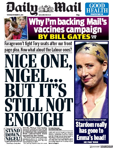 Daily Mail Newspaper Front Page (UK) for 12 November 2019