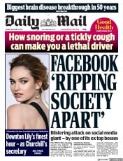 Daily Mail (UK) Newspaper Front Page for 12 December 2017