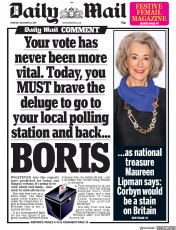 Daily Mail () Newspaper Front Page for 12 December 2019