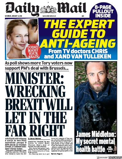 Daily Mail Newspaper Front Page (UK) for 12 January 2019