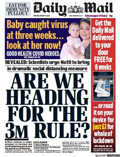 Daily Mail Newspaper Front Page (UK) for 12 January 2021