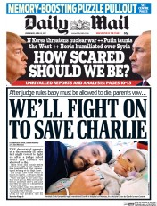 Daily Mail (UK) Newspaper Front Page for 12 April 2017
