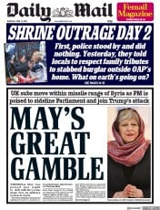 Daily Mail (UK) Newspaper Front Page for 12 April 2018
