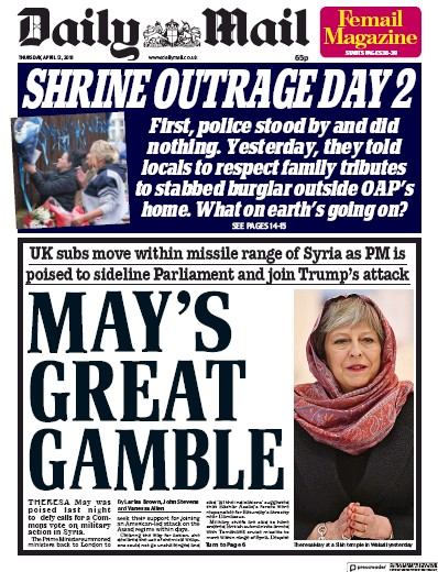 Daily Mail Newspaper Front Page (UK) for 12 April 2018