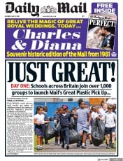 Daily Mail (UK) Newspaper Front Page for 12 May 2018