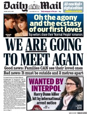 Daily Mail front page for 12 May 2020