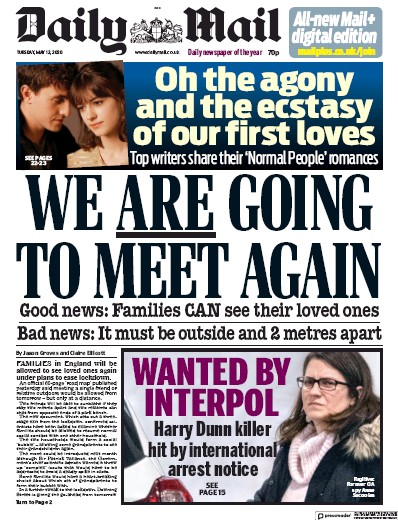 Daily Mail Newspaper Front Page (UK) for 12 May 2020